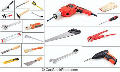 集合, ......的, 手工具, 拼貼藝術