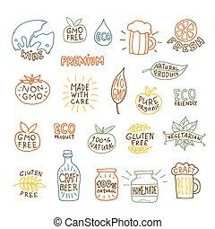 集合, ......的, 手, 畫, 自然, 徽章, 以及, 標籤, 矢量, 插圖
