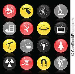 集合, ......的, 按鈕, 上, a, 科學, theme., a, 矢量, 插圖