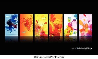 集合, ......的, 摘要, 鮮艷, 環繞, illustrations.