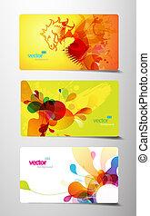 集合, ......的, 摘要, 鮮艷, 飛濺, 禮物, 卡片。