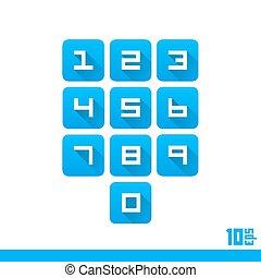 集合, ......的, 數字, 按鈕