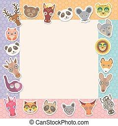 集合, ......的, 有趣, 動物, 槍口, 廣場, 框架, 樣板, card., 背景, 由于, 波爾卡舞, dot., 矢量