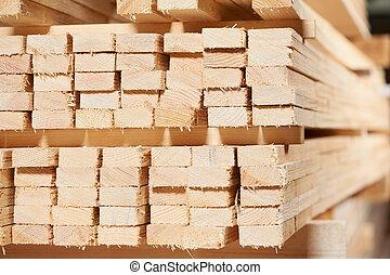 集合, ......的, 木頭, 木材, 材料