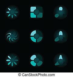 集合, ......的, 氖, icons., a, 矢量, 插圖