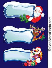 集合, ......的, 水平的旗子, 由于, 吹雪, 以及, 冰柱, 由于, 聖誕老人, 馴鹿, 以及, 性感, 女孩, 偷看, 輪, 從后面, 有光澤, 冬天, frames., 圖像, 為, 圣誕節和新年, 設計