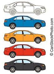 集合, ......的, 汽車, 矢量, 套間, 風格