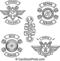 集合, ......的, 汽車, 象征, badges.