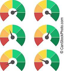 集合, ......的, 測量, icons., 里程計, 或者, 規定值, 米, 簽署, infographic, 量規, 元素