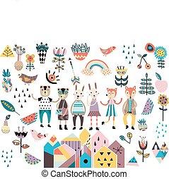 集合, ......的, 漂亮, 斯堪的納維亞人, 風格, 元素, 以及, animals.