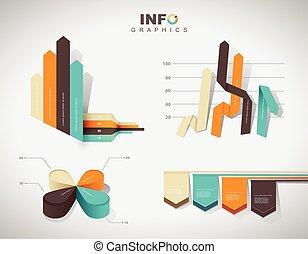 集合, ......的, 矢量, 套間, 設計, infographics, 統計數字, 圖表, 以及, 圖, -, 在, 四, colors.