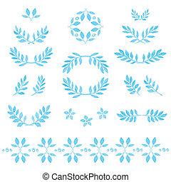 集合, ......的, 矢量, 水彩, 離開, 徽章, 花的要素, 花冠, 以及, laurels., 矢量,...