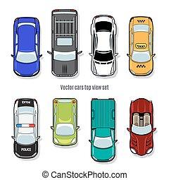 集合, ......的, 矢量, 汽車, 頂視圖