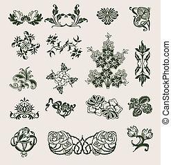 集合, ......的, 矢量, 裝飾品, 在, 花, 風格