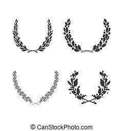 集合, ......的, 矢量, 黑色 和 白色, 圓, foliate, 花冠, 為, 褒獎, 成就, 紋章學,...