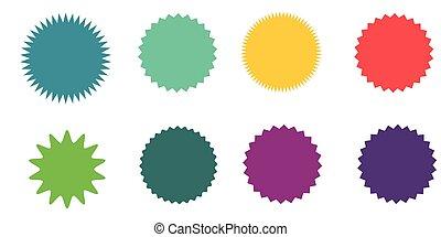 集合, ......的, 矢量, starburst, sunburst, badges., 葡萄酒, labels., 上色, stickers., a, 彙整, ......的, 不同, 類型, 以及, 顏色, icon.