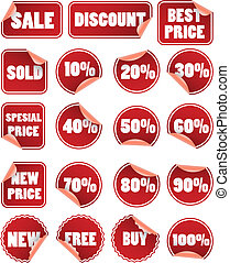 集合, ......的, 紅色, duscount, 價格, 標籤