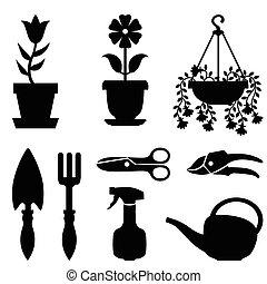 集合, ......的, 罐植物, 以及, 工具, 為, 他們, 關心