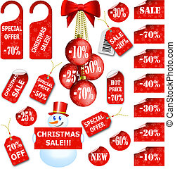 集合, ......的, 聖誕節, 價牌, 以及, 標籤