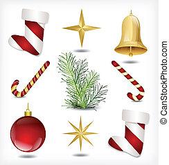 集合, ......的, 聖誕節, items., 矢量