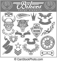 集合, ......的, 葡萄酒, 摩托車, 設計元素, 為, 象征, 以及, 標籤