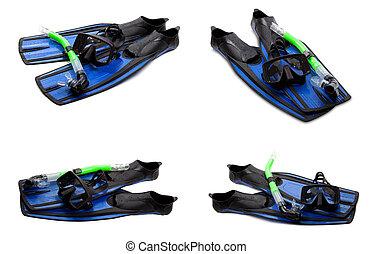 集合, ......的, 藍色, 游泳 飛翅, 面罩, 以及, 水下通气管, 為, 跳水, 在懷特上, 背景