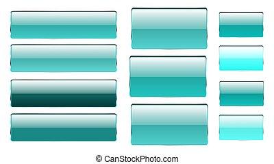 集合, ......的, 藍色, 長方形, 以及, 廣場, 玻璃, 透明, 明亮, 美麗, 矢量, 按鈕, ......的, 不同, 罩子, 由于, a, 銀色, 金屬, 框架, 為, 點擊, 點, 圖象, 為, the, 站點。, 矢量, 插圖