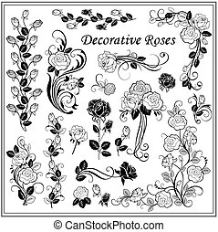 集合, ......的, 裝飾, 玫瑰