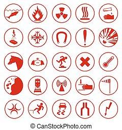 集合, ......的, 警告, 以及, 危險, signs.