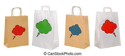 集合, ......的, 購物, 紙袋子, 被隔离, 在懷特上