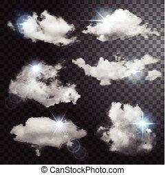 集合, ......的, 透明, 不同, clouds.