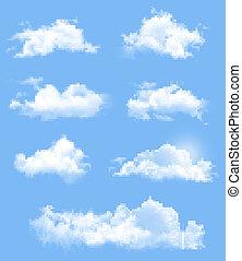集合, ......的, 透明, 不同, clouds., vector.