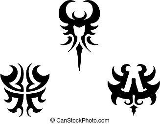 集合, ......的, 部落, 紋身, 元素