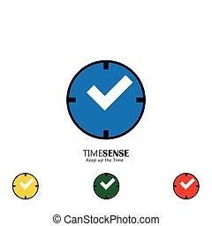集合, ......的, 鐘, 矢量, 圖象, 由于, 紅色, 撥, 以及, 處理, 如, 复選標記, 表明, 權利, 時間