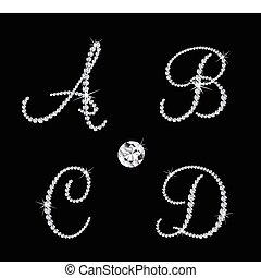 集合, ......的, 鑽石, 按字母順序, letters., 矢量