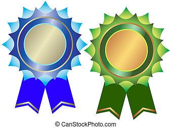 集合, ......的, 青銅, 以及, 銀色, 獎品, (vector)