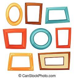 集合, ......的, 顏色, 各種各樣, 框架, 在懷特上, 背景