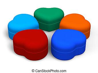 集合, ......的, 顏色, 珠寶, 箱子
