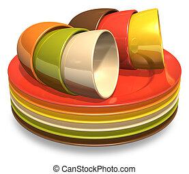 集合, ......的, 顏色, 瓷器, 盤子, 以及, 咖啡杯子