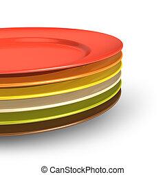 集合, ......的, 顏色, 瓷器, 盤子