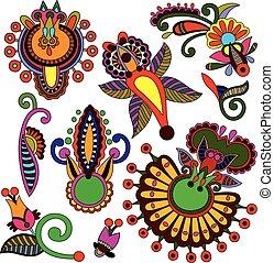集合, ......的, 顏色, 花, 設計