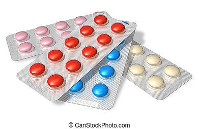 集合, ......的, 顏色, 藥丸, 在, 薄膜包裝