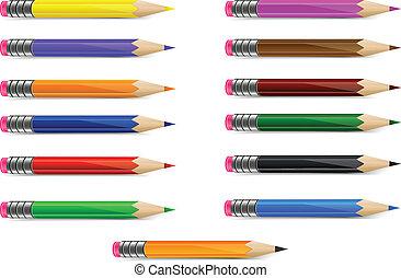 集合, ......的, 顏色, 鉛筆