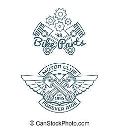 集合, ......的, 騎自行車的人, 矢量, 徽章