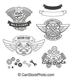集合, ......的, 騎自行車的人, 葡萄酒, 標籤, oldschool, 馬達, 標識語, 矢量, 設計, elements.