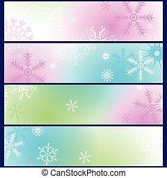 集合, ......的, 鮮艷, 坡度, 冬天, 旗幟
