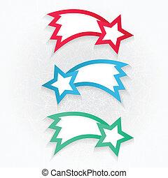 集合, ......的, 鮮艷, 標籤, 由于, 星
