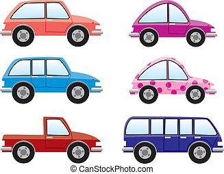 集合, ......的, 鮮艷, 汽車