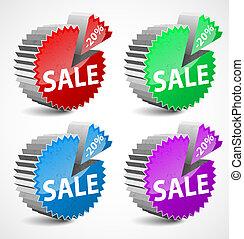 集合, ......的, 鮮艷, 3d, 矢量, 銷售, labels.