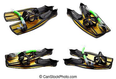 集合, ......的, 黃色, 游泳 飛翅, 面罩, 以及, 水下通气管, 為, 跳水, 在懷特上, 背景